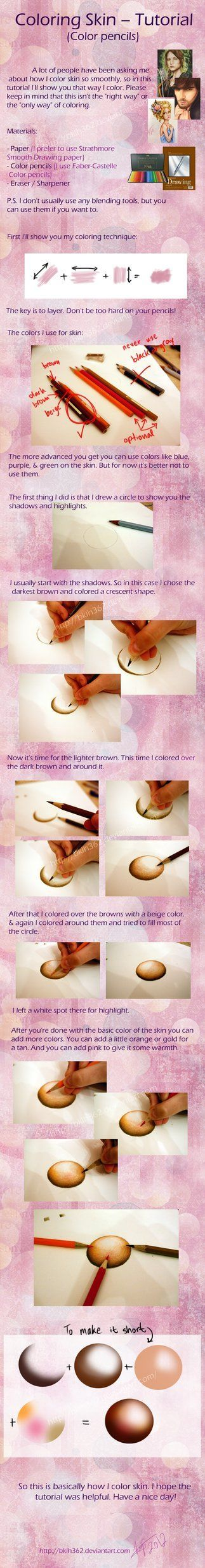 how to draw skin with colored pencils