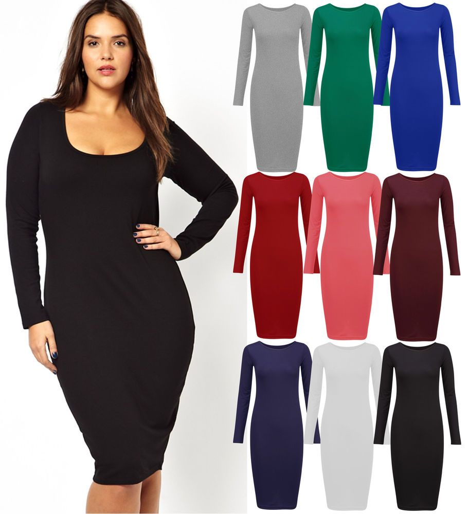 Turmec Long Sleeve Plus Size Bodycon Dress Bodycon Dresses