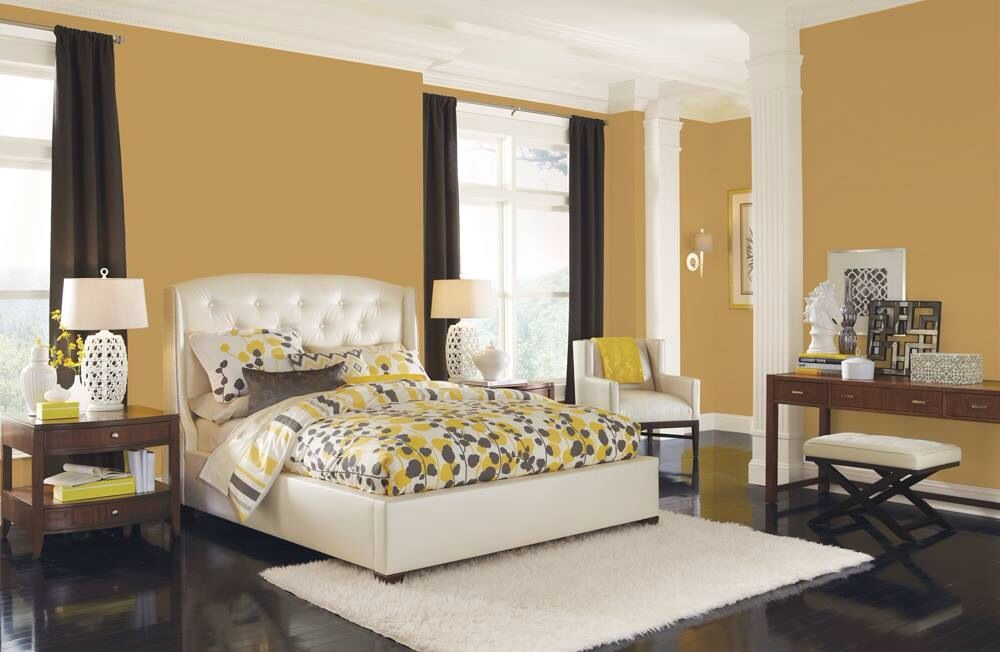 This Bedroom Conveys Comfort With The Sherwin Williams Yellow Color Of The  Month For September, Ceremonial Gold (SW On The Walls.