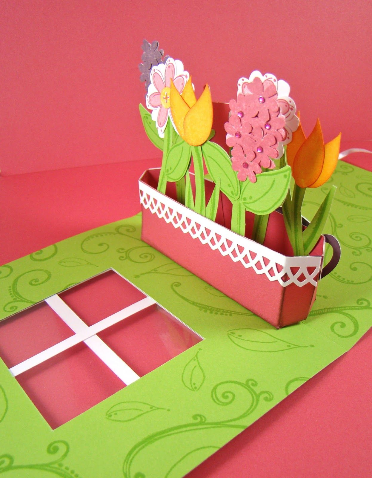 Ctmh Scrapbook Snippets Spring Flower Pop Up Card Pop Up Greeting Cards Pop Up Flower Cards Pop Up Box Cards