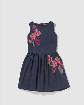 cc47bb3259 Vestido de niña Tommy Hilfiger azul marino con print