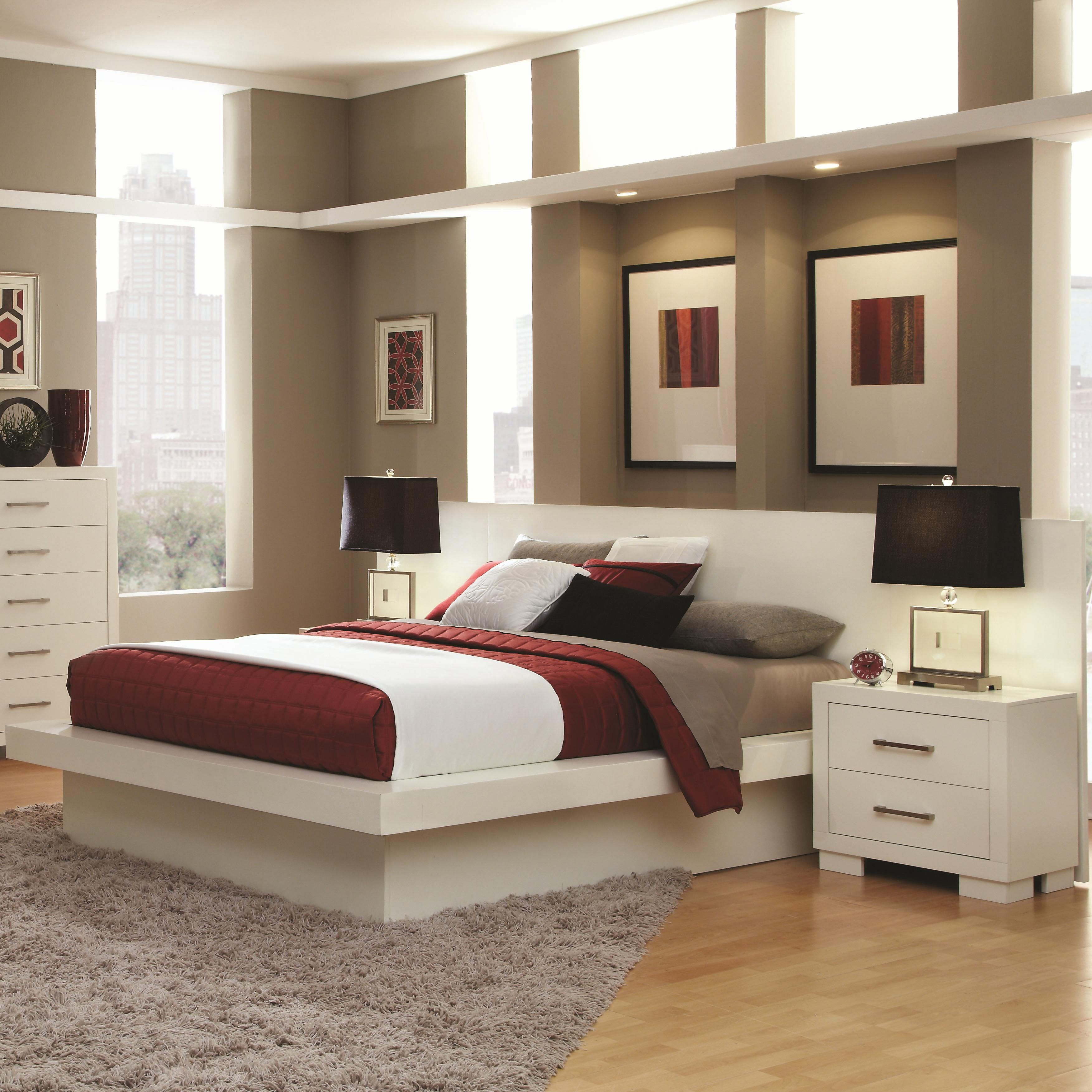 Jessica King Platform Bed With Rail Seating And Lights By