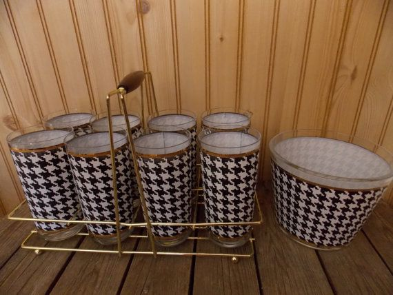 Vintage Barware Black & White Gold Rimmed Glass Tumblers W/ Gold Metal Carrier And  Matching  Ice Bucket Retro Mid Century