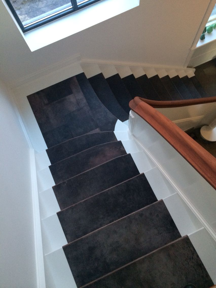 Leather Tiles Made As Runner On Staircase.