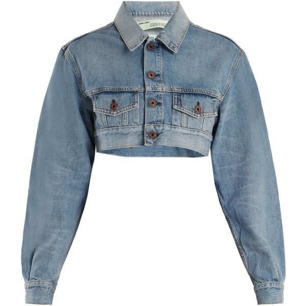 Off White Point Collar Cropped Denim Jacket 884 Liked On Polyvore Featuring Outerwear Jackets Tops Coats Off White Jacket Cropped Denim Jacket Jackets