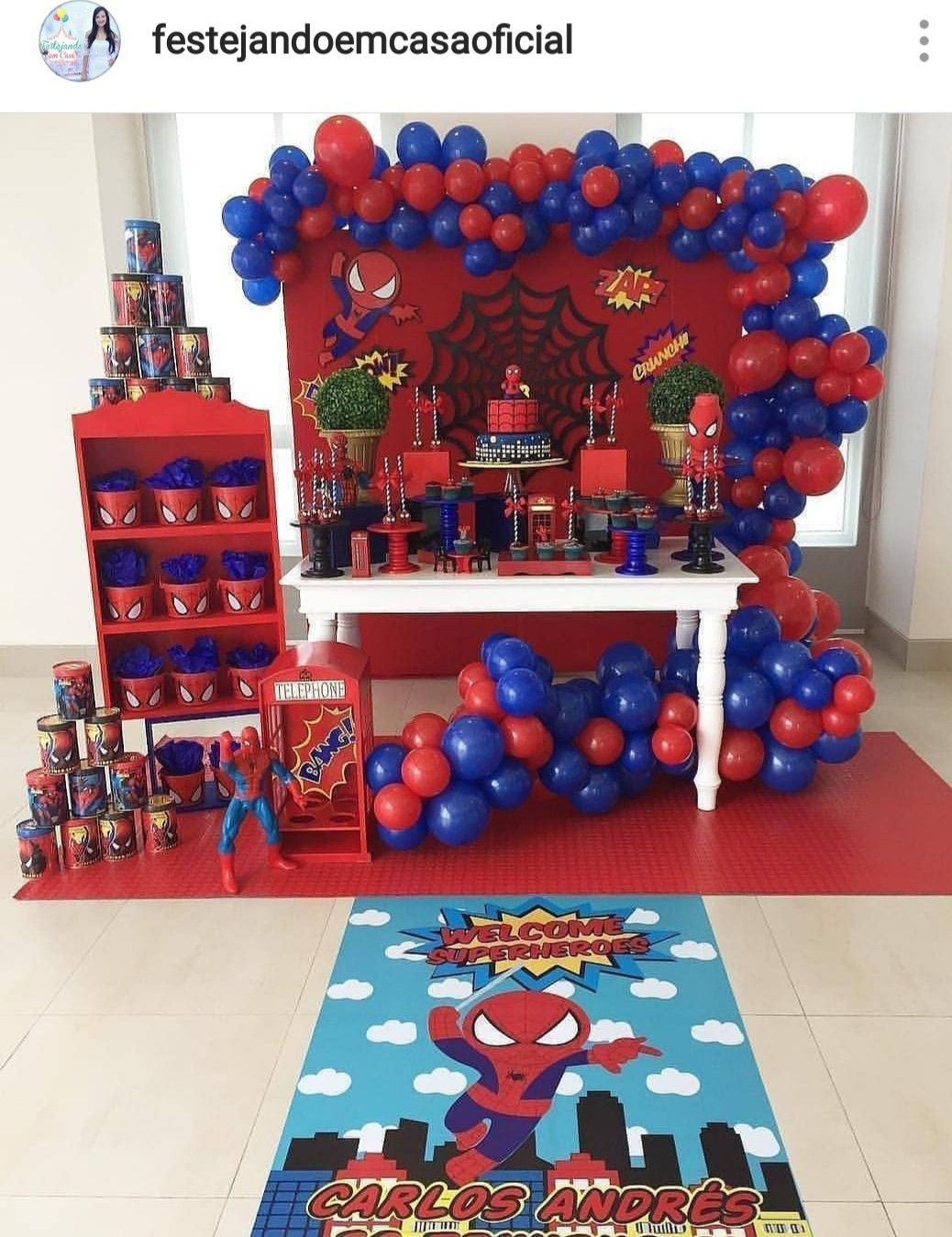 Spiderman Theme Dessert Table And Decor Fiesta De Spaiderman