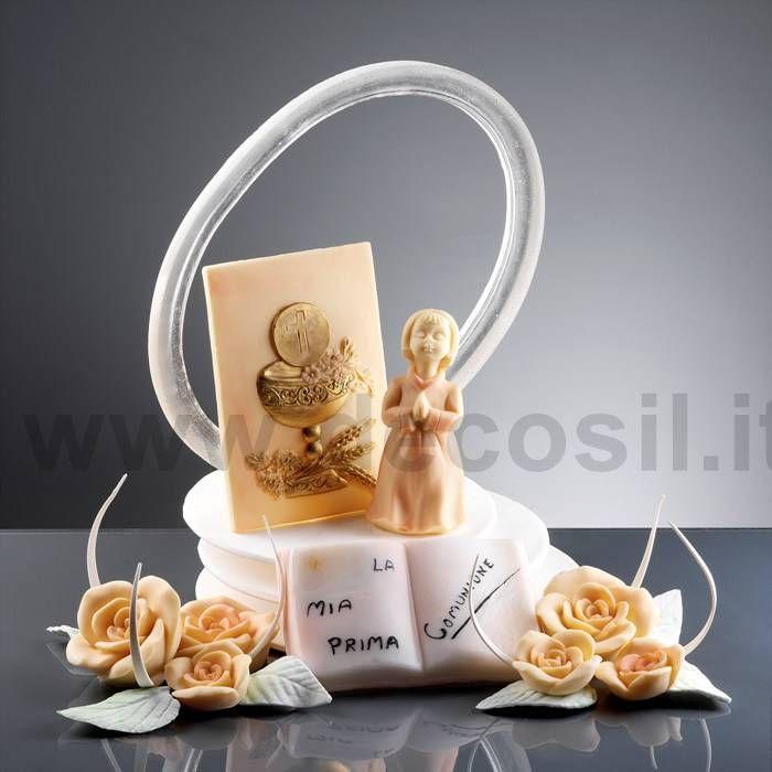 Pergamena in rilievo bimba e fiore di cioccolato plastico for Decorazione torte prima comunione