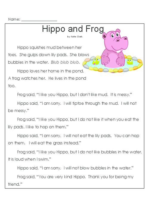 hippo and frog reading comprehension worksheets and reading comprehension skills. Black Bedroom Furniture Sets. Home Design Ideas