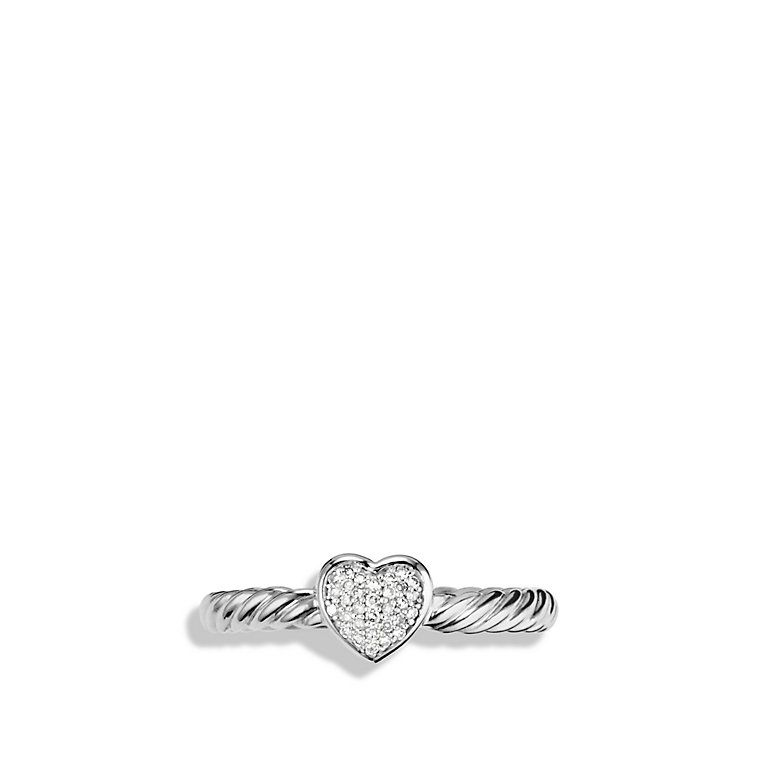 David Yurman- Cable Collectibles Heart Ring with Diamonds