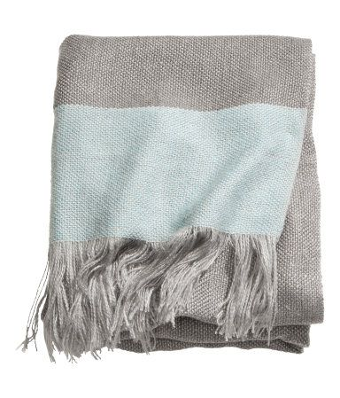 Woven Throw Blanket In Seafoam Gray By H M