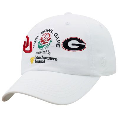 266a5549 Men's Top of the World White Oklahoma Sooners vs. Georgia Bulldogs College  Football Playoff 2018 Rose Bowl Dueling Adjustable Hat