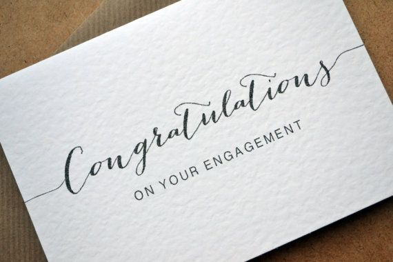Congratulations Card Engagement Greetings Card With C6 Kraft Envelope Congrats O Wedding Congratulations Card Calligraphy Congratulations Calligraphy Cards
