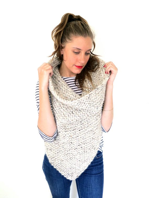 PATTERN for Chunky Soft Knit Poncho Cowl // Shield Cowl PATTERN ...