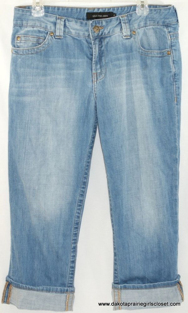 Calvin Klein Jeans Womens Size 12 Denim Capris Boyfriend Rolled Cuff Light Wash #CalvinKlein #Boyfriend