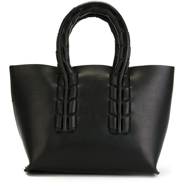 Rick Owens twisted handle tote ($1,265) ❤ liked on Polyvore featuring bags, handbags, tote bags, black, black purse, black tote purse, rick owens, black tote and tote bag purse