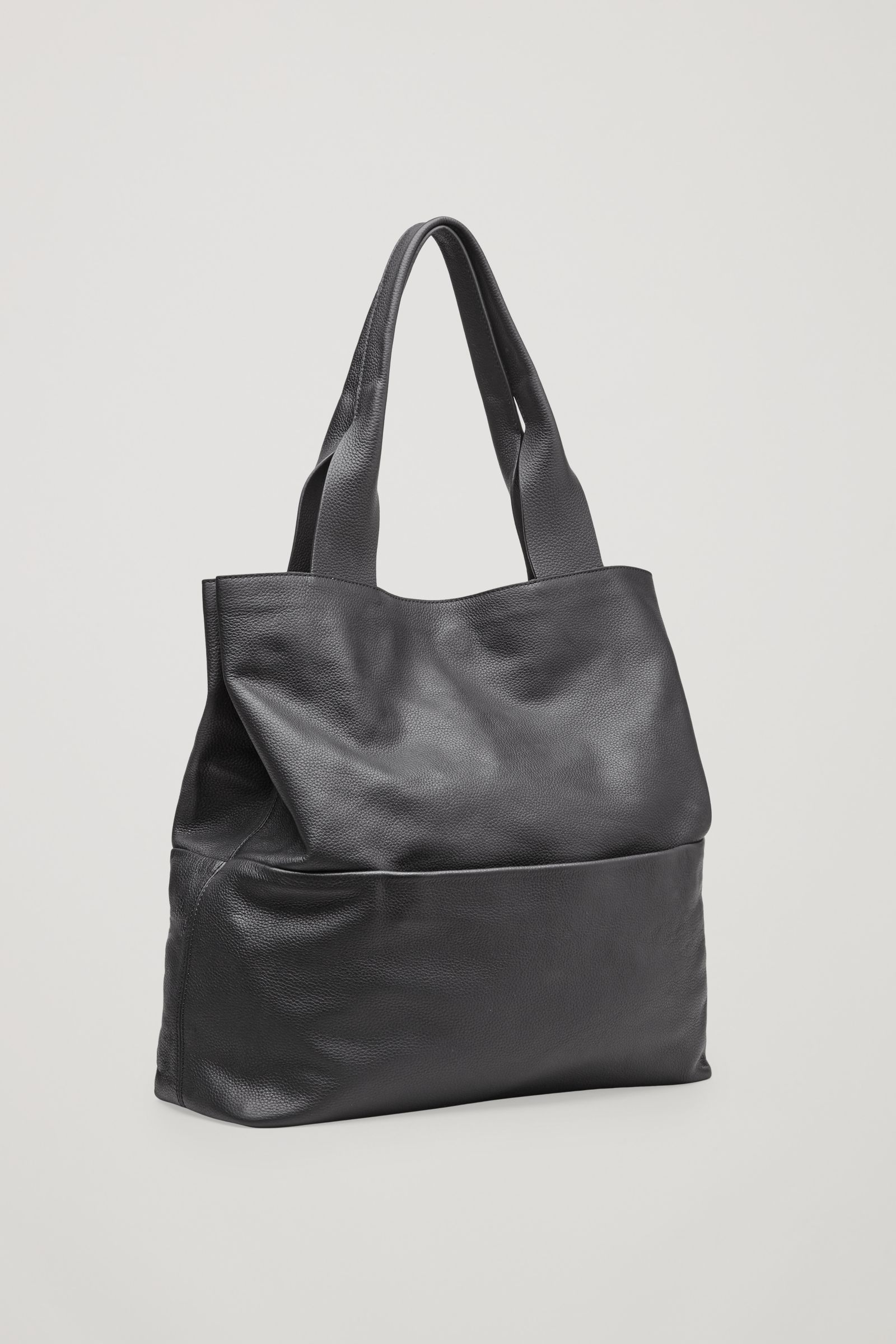 Cos Image 2 Of Large Grained Leather Bag In Black