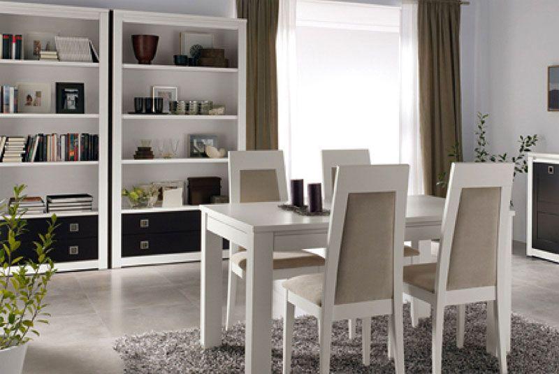 Libreros y mesa con 4 sillas crea1 precioconjunto for Muebles lopez arevalo