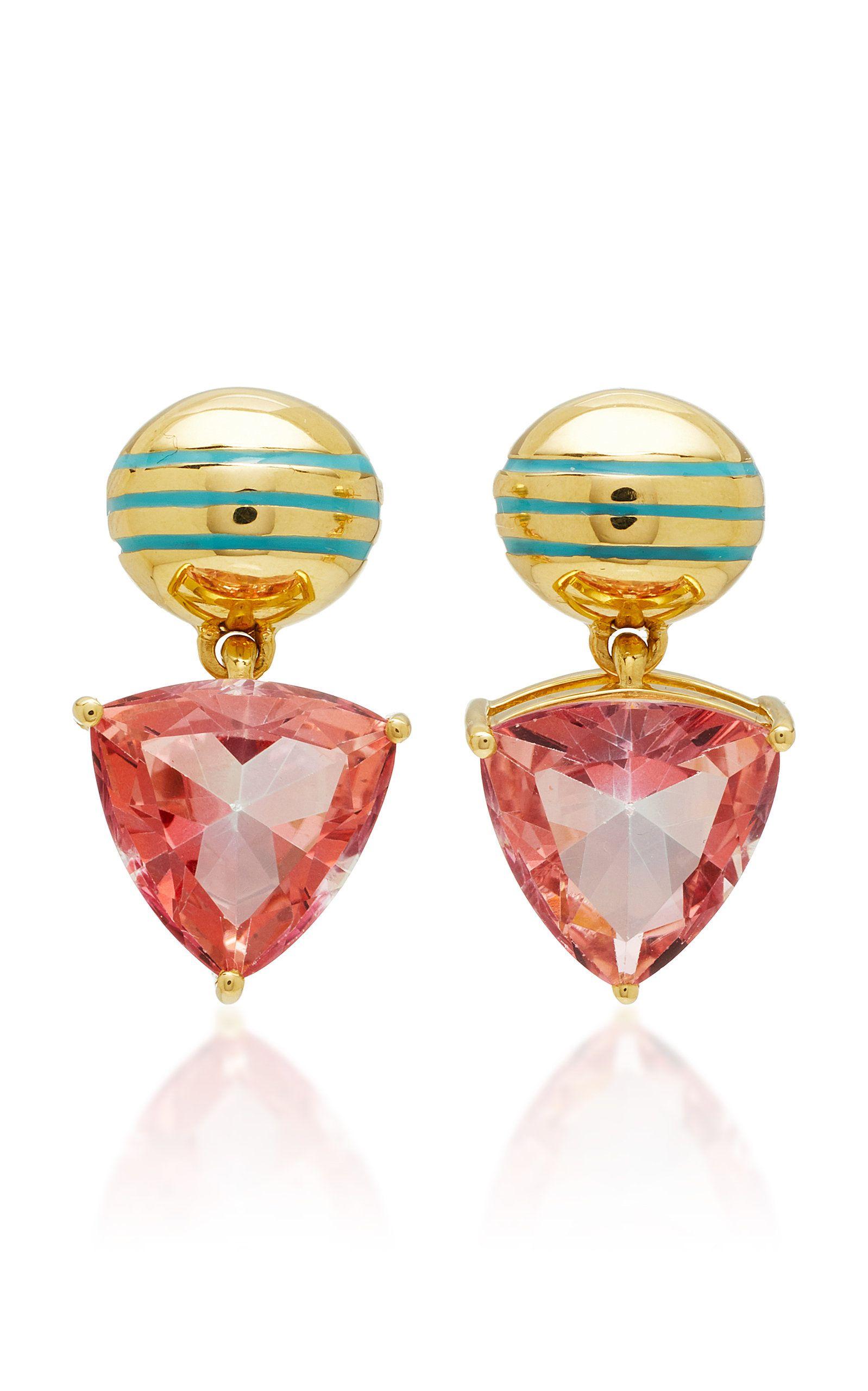 Gold Sarah Hendler Mystic Topaz Drop Earrings Colorpink 5 145
