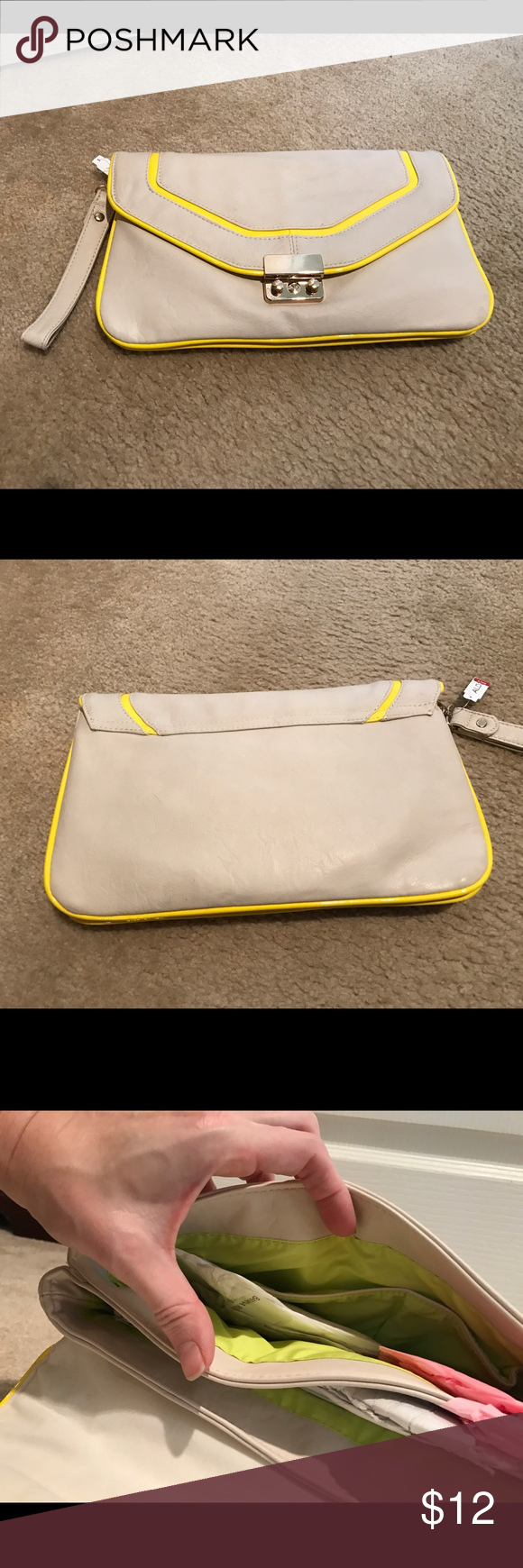 Aldo New with Tags Clutch - stone with yellow trim This clutch is brand new in an off white/stone color with with yellow patent leather looking trim. It is a decent sized clutch with a wrist strap. See photo with me holding clutch as a size reference. Interior has 2 compartments and bright green lining. Aldo Bags Clutches & Wristlets