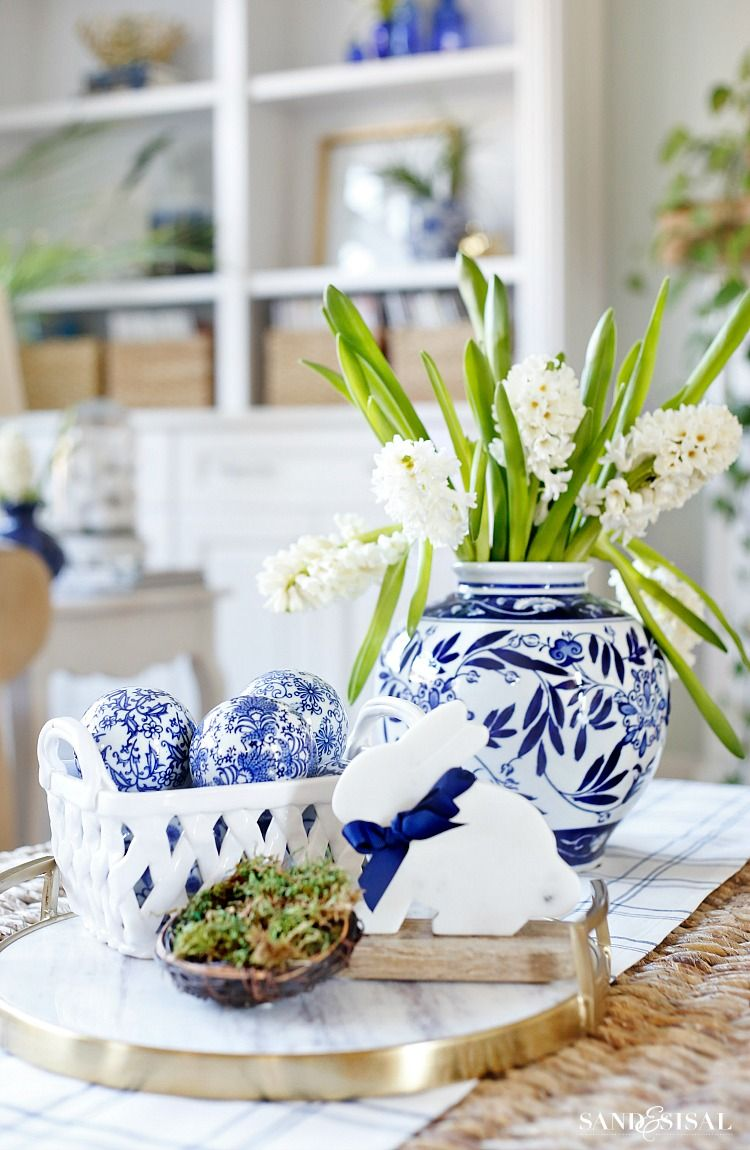 Blue And White Spring Living Room Tour Spring Home Decor Blue White Decor,Blue Wall Living Room