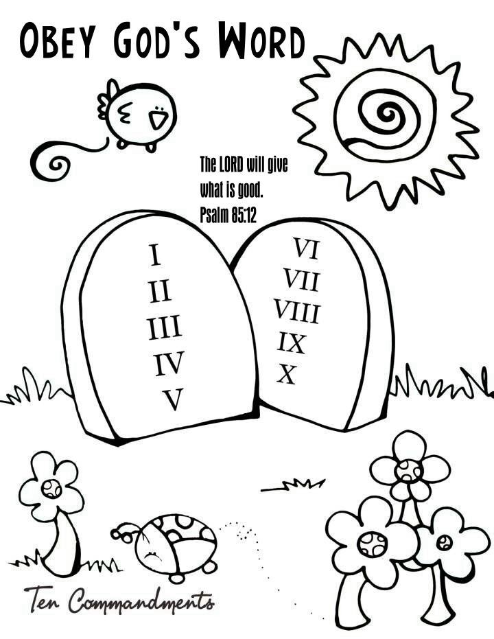 obeying coloring pages | 10 Commandments | peewee1949 | Pinterest ...