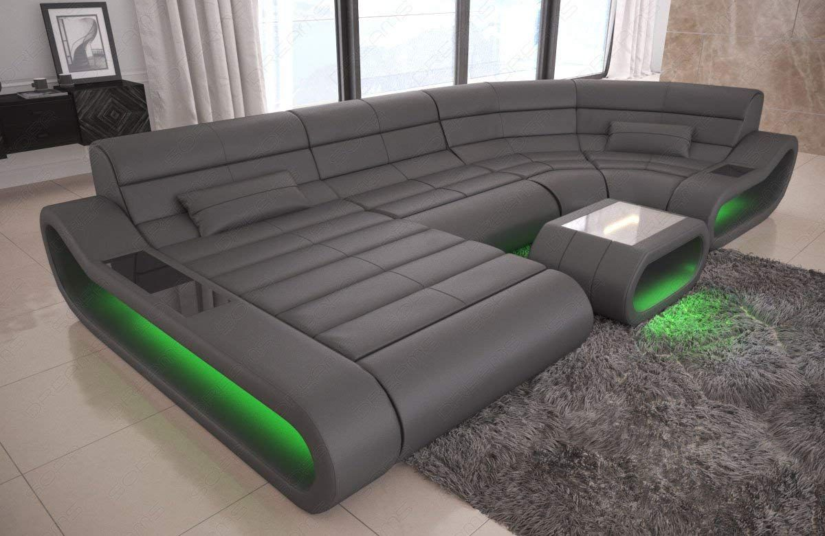 Leather Couch Corner Couch Sofa Xxl Colour Led Lighting Living Room Modern Designer Sofa Bigsofa Set Concept Furniture Black Leather Sofas Genuine Leather Sofa