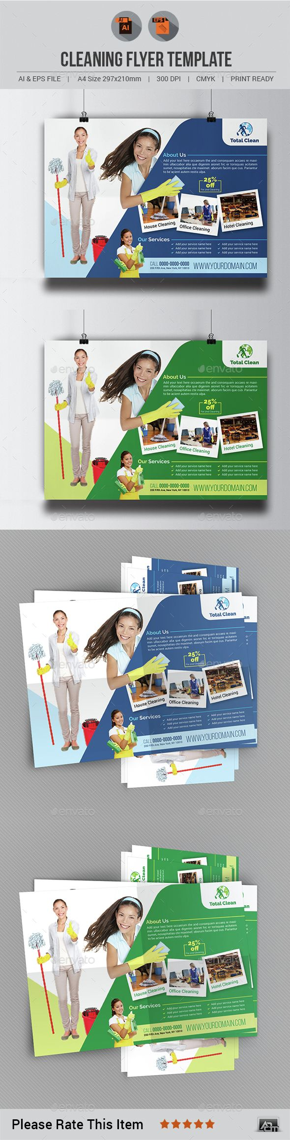 Cleaning Flyer Template V3 | Cleaning Services Print Templates ...