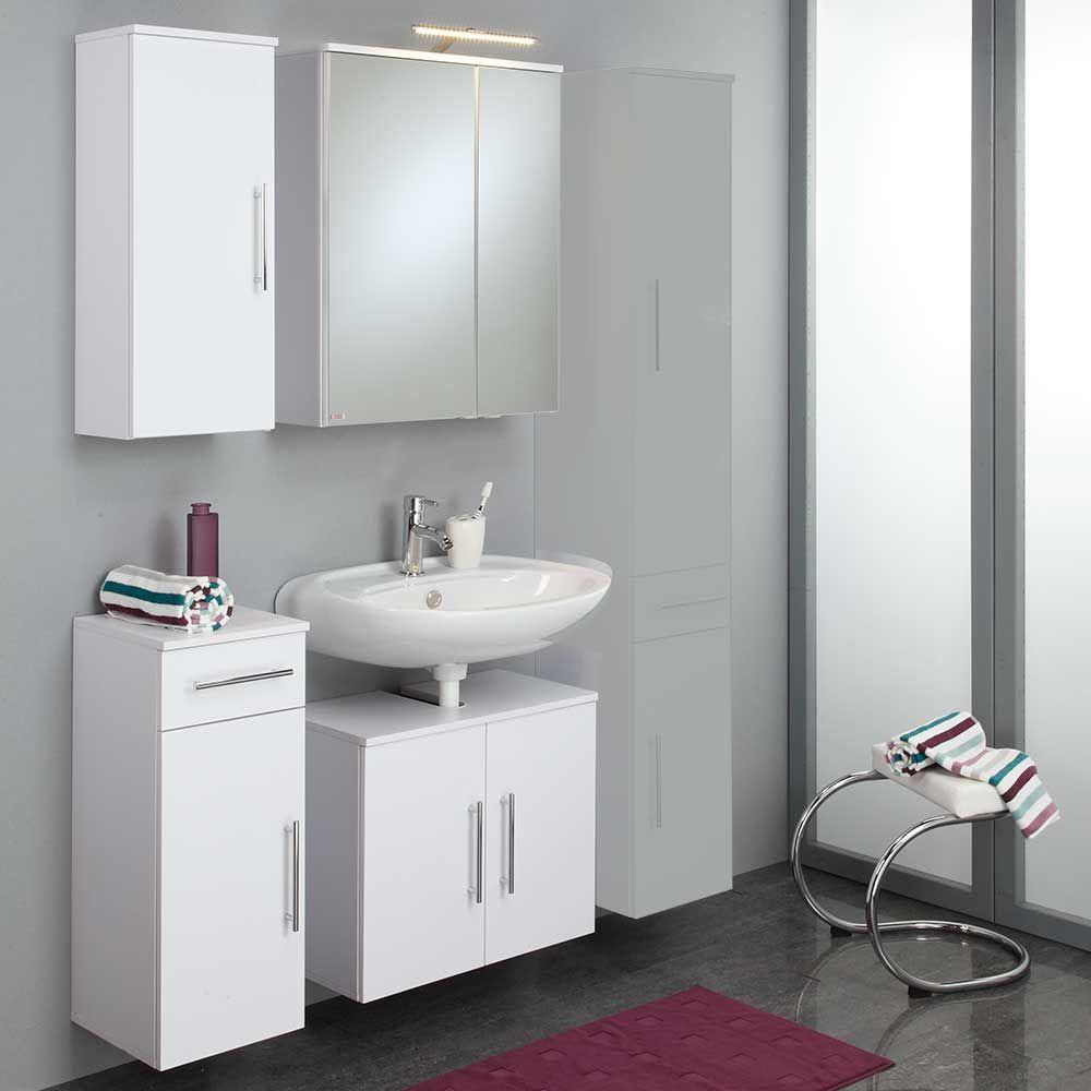 Badezimmer Komplettset in Weiß Spiegelschrank und Beleuchtung (4 ...