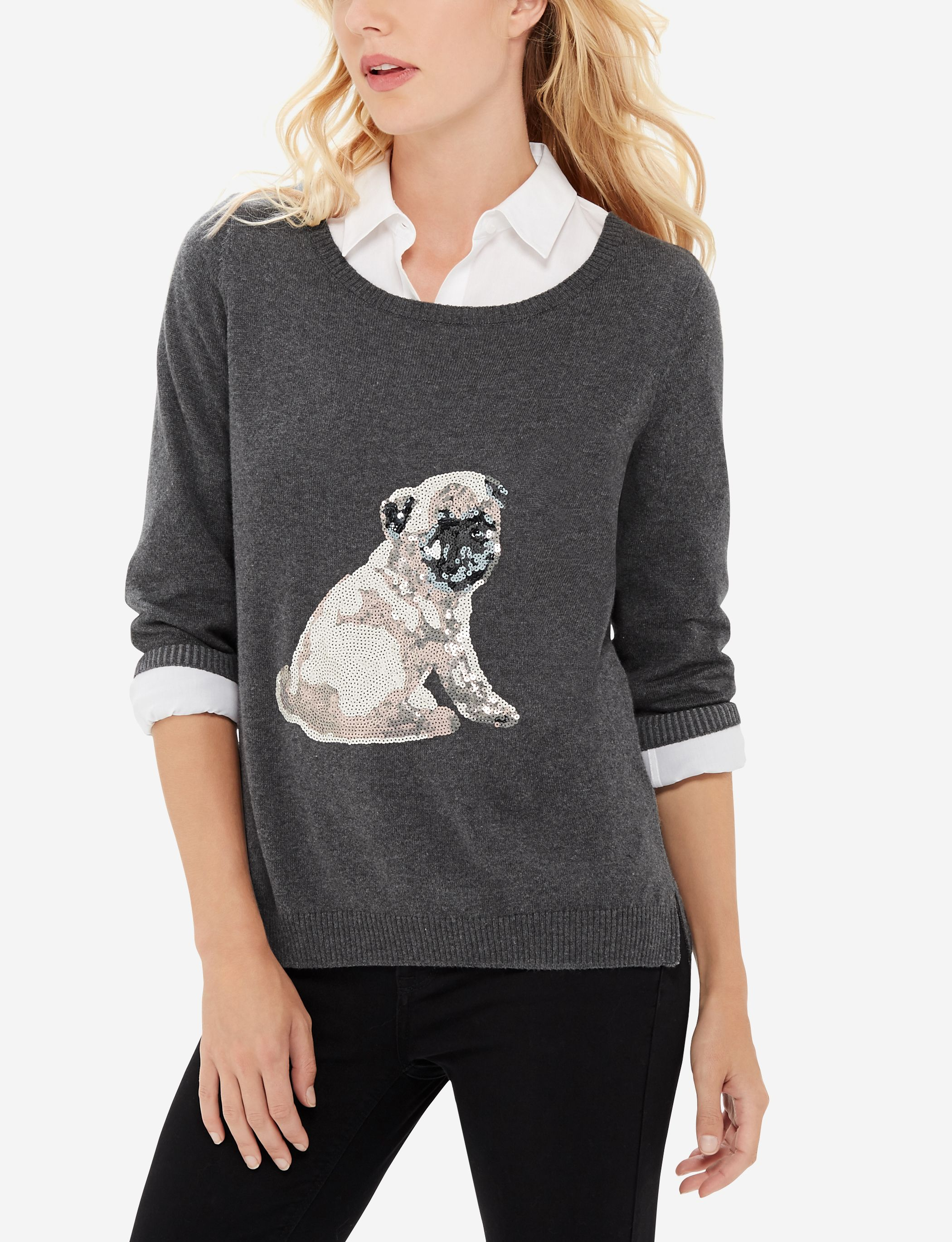 Sequined Pug Sweater - Take this sweater out for a walk! An adorable sequined puppy is perfect for every animal lover.