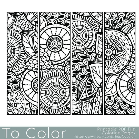 Printable Pattern Coloring Page Bookmarks PDF JPG