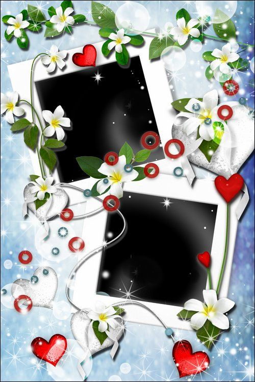 2 Psd Frames For Photoshop White Flowers Free 2 Photo Frame Psd