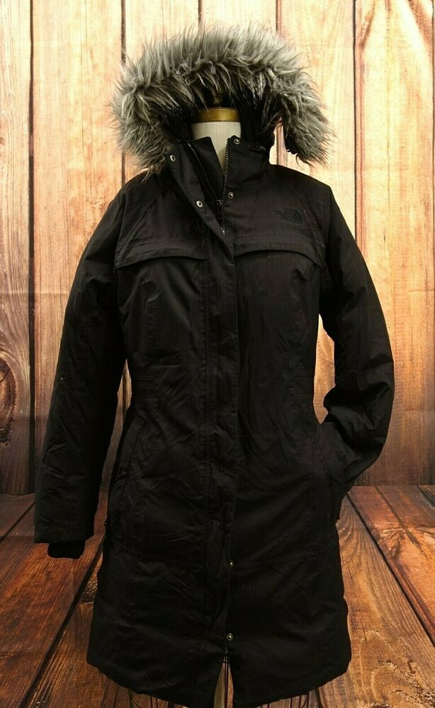 The North Face Womens Long Black Hy-Vent Down Puffer Hooded Winter Coat Sz M b2ed2b4d6