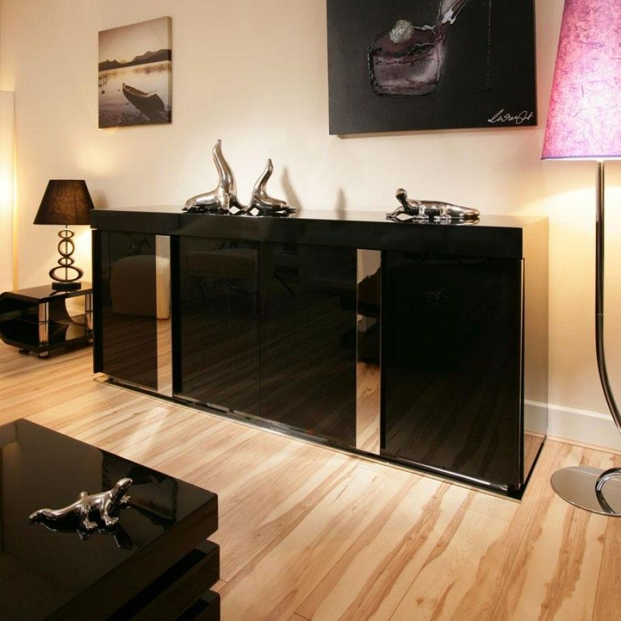 Modern black gloss sideboard/cabinet/buffet 2 metre 912M. Features ...