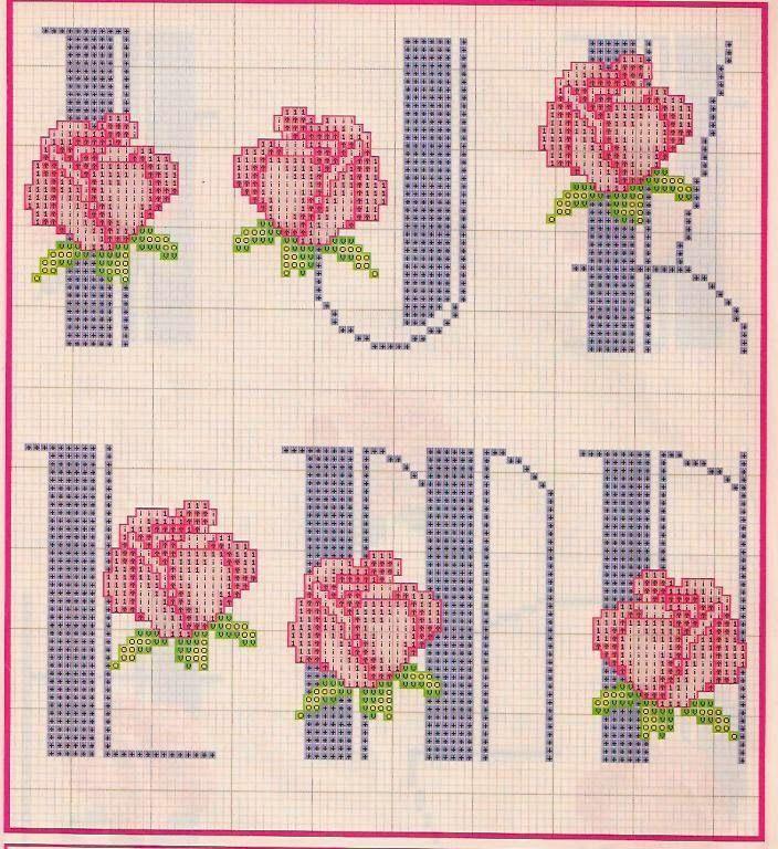 Alfabeto Com Rosas Para Bordar Ponto Cruz Padroes Alfabeto Ponto