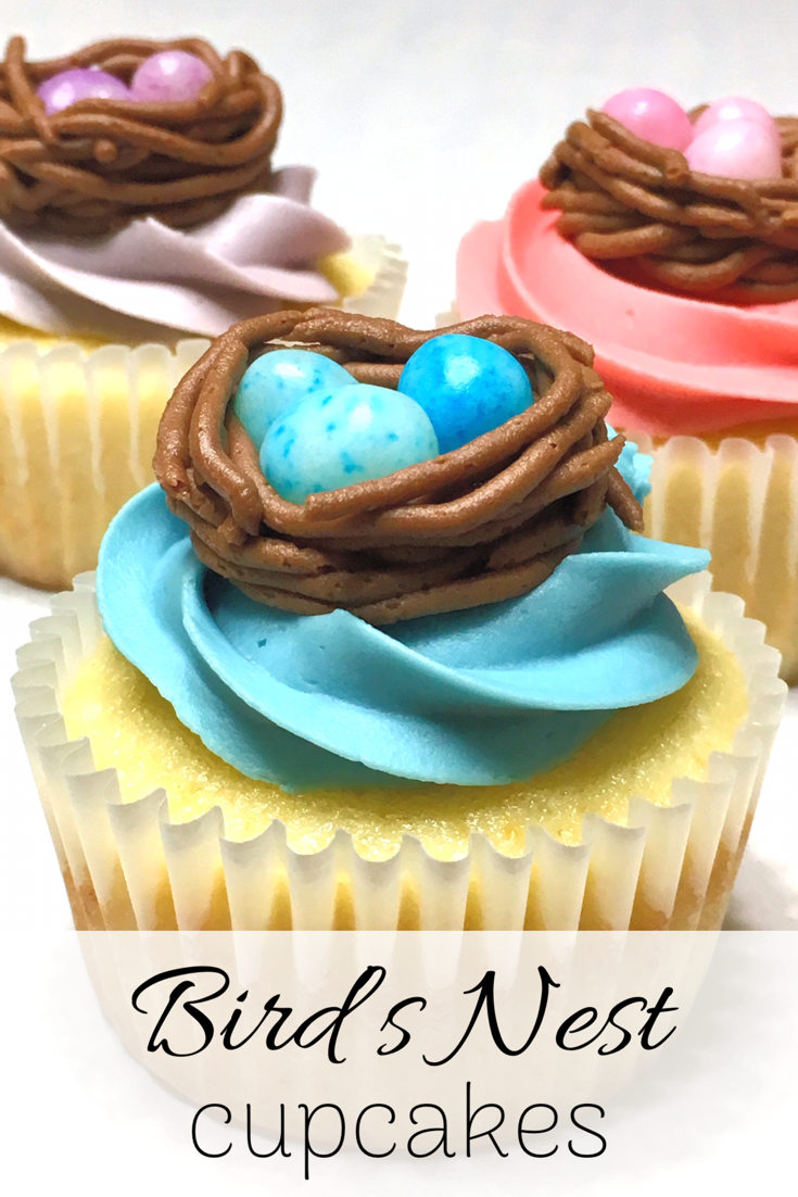 Bird's Nest Cupcakes This recipe is almost too cute to eat! The vanilla cupcakes are frosted with pastel buttercream and then topped with color-coordinated bird's nests. And the bird's nests are made with chocolate frosting and speckled jelly beans to complete the look.