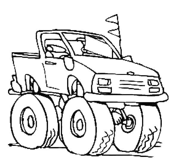 Coloring Car And 4x4 Picture To Color 4x4 Car With Coloriage Dessin