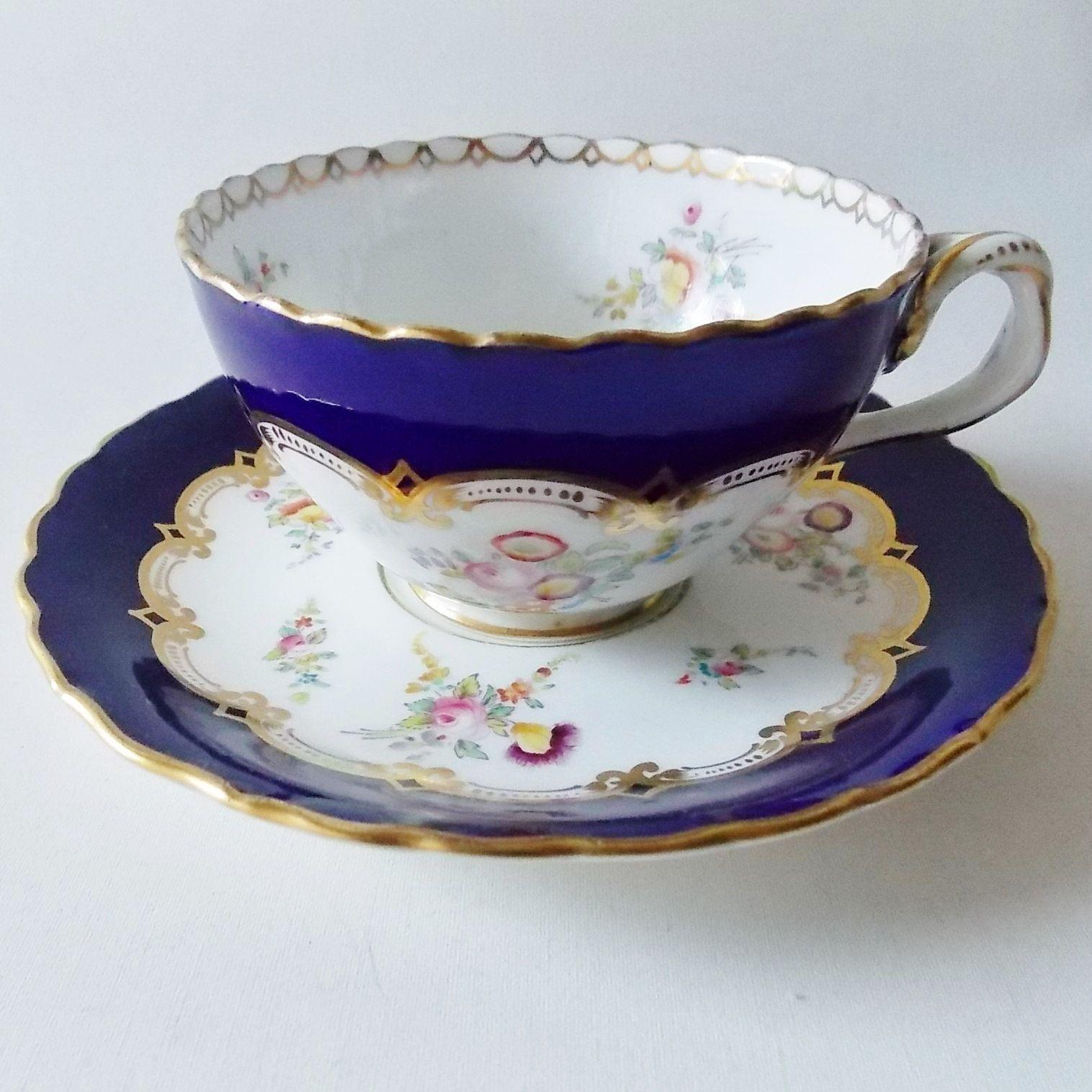 ANTIQUE COALPORT HANDPAINTED CUP AND SAUCER COBALT BLUE MULTICOLORED FLOWERS | eBay