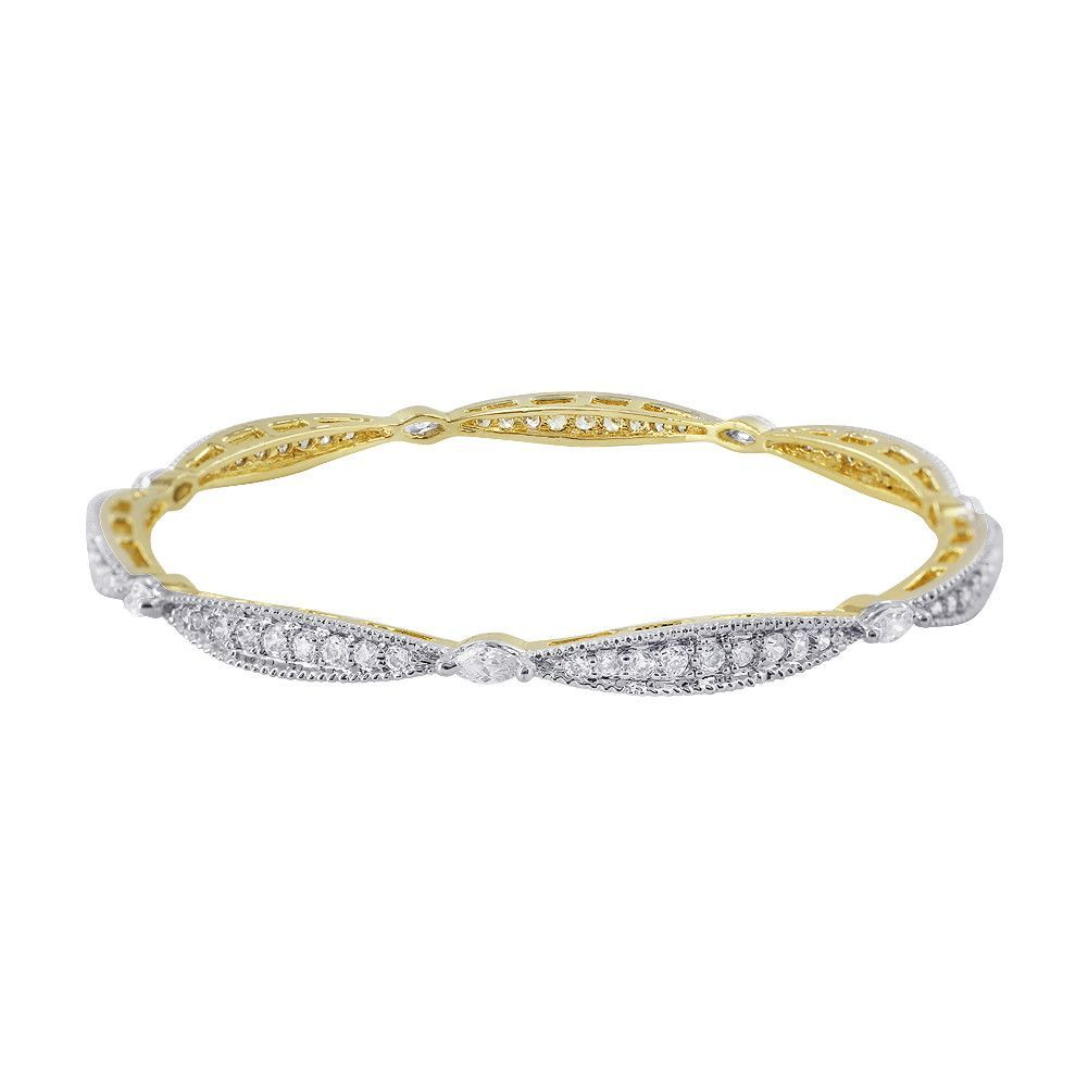 22k Gold Plated Studded with Cubic Zirconia Bangle Bracelet