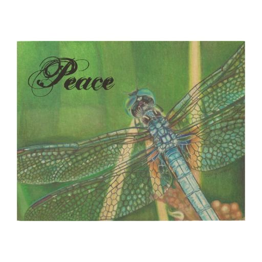 color pencil drawing of blue dragonfly wooden wall art with Peace word Wood Canvas by Jenny Luan #dragonfly #Peace #green #bluedasher #insect #bug