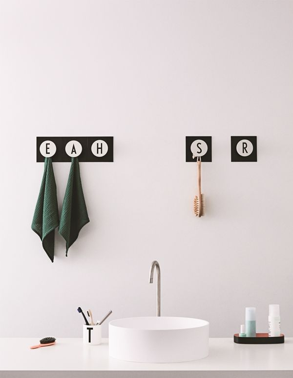 Hooks Design Letters Bathroom