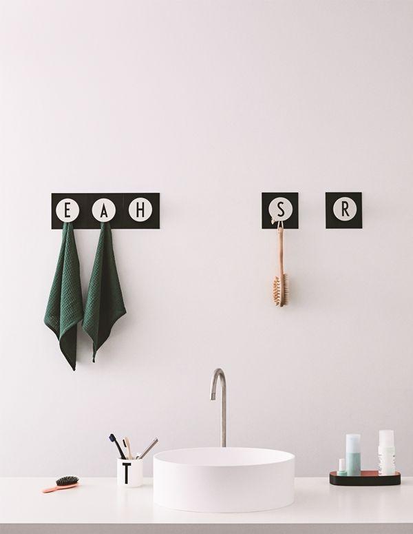 Hooks Design Letters Bathroom