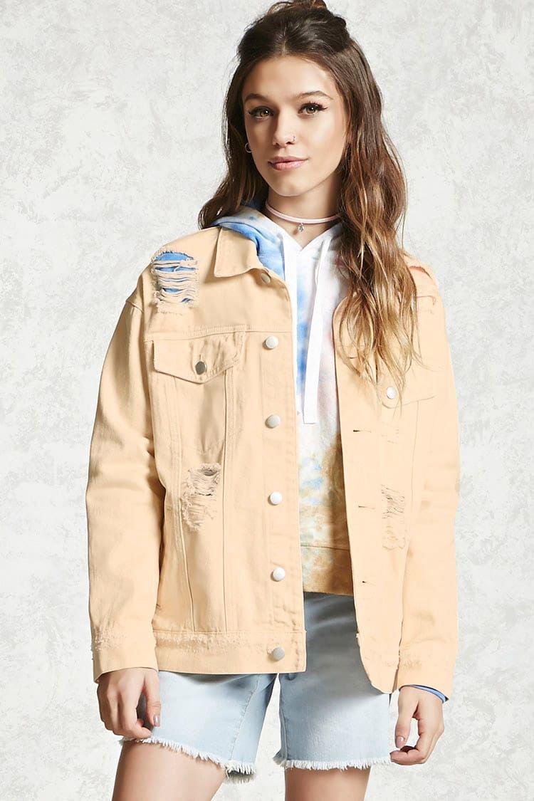 3ce9add5e264 Forever 21 Distressed Denim Jacket