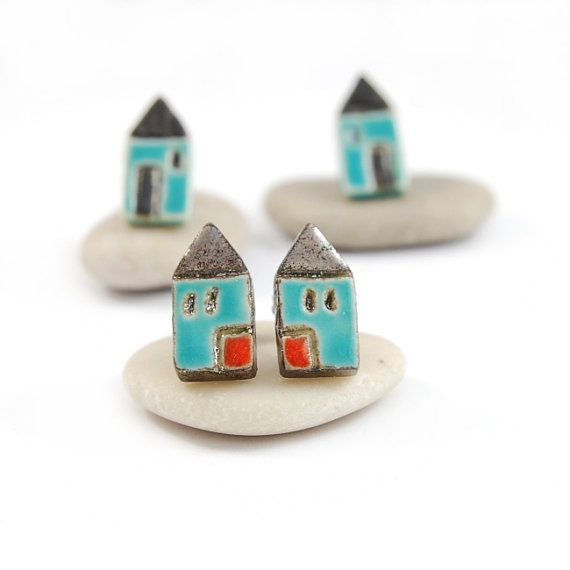 Houses turquoise ceramic studs- mini, ceramic earrings ,surgical steel,orange on Etsy, $27.47 AUD