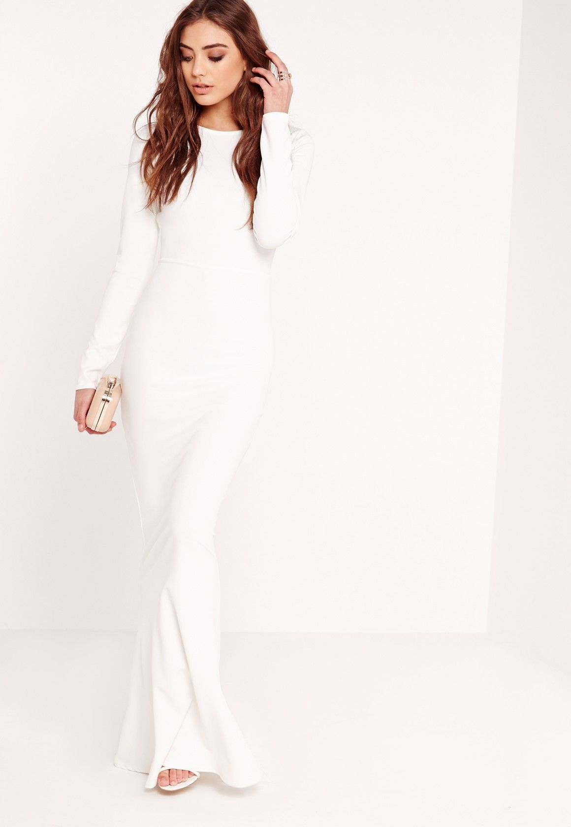 Missguided Long Sleeve Open Back Maxi Dress White Whiteness