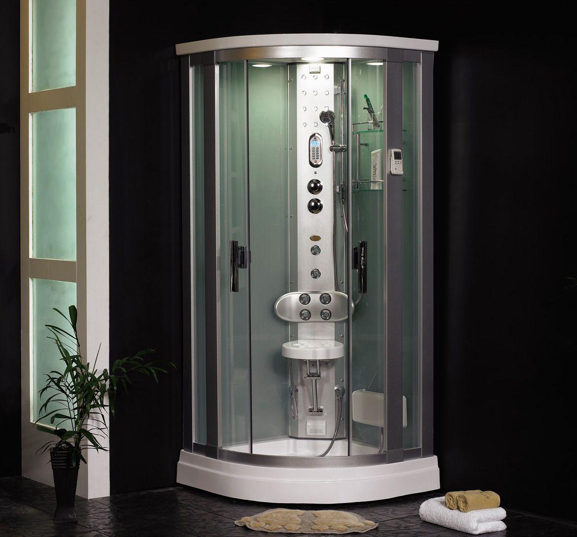 Modern shower. Cheerful sunlight released. A charming blue light ...