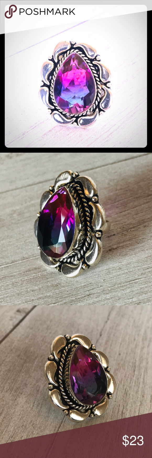 Sterling Silver Purple Amethyst Garnet Brown Leather Heavy Chunky Statement Ring