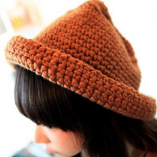 Versatile Solid Color Hemming Knit Hat For Women #women, #men, #hats, #watches, #belts