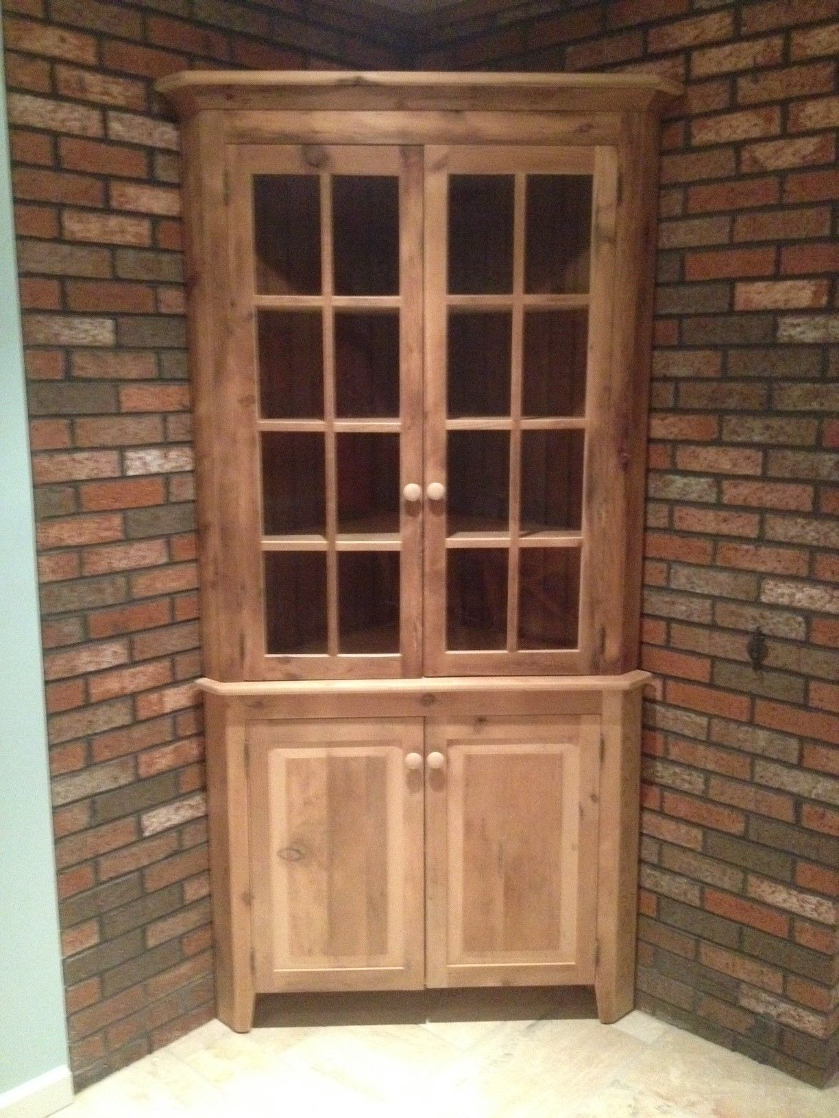 Reclaimed Barn Wood 30 Corner Cabinet With Glass Hutch