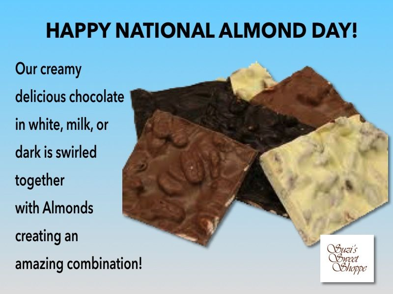 Today Is National Almond Day We Definitely Love Almonds With Chocolate Do You Like Them With Milk Dark Or White Chocolat Delicious Chocolate Food Chocolate