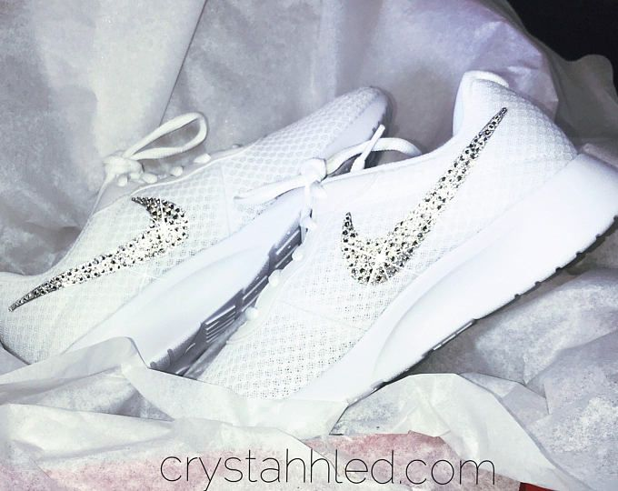 Blinged Out Nike® Tanjun SE Womens in all white with SWAROVSKI® Crystal  logo s 95e1e0586